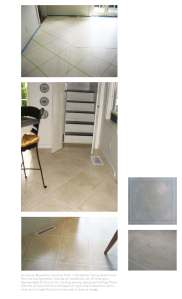 faux marble tiles over wood floor